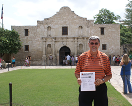 Peder in front of the Alamo, San Antonio, Texas, 2008