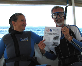 Richard and his wife on a dive boat near Verde Island, Philippines 2008
