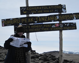 Diana at the summit of Kilimanjaro 2010