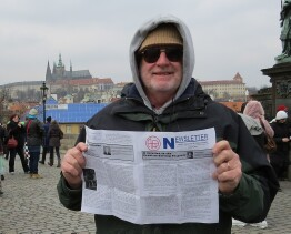 2013 Rolly on historic Charles Bridge, Prague, near the tomb of Tycho Brahe.
